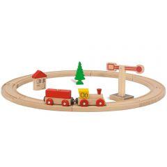 Set din lemn Eichhorn Tren natur cu sina circulara si accesorii