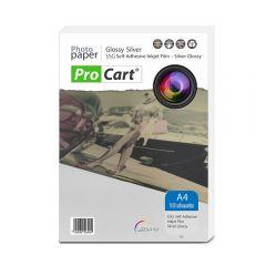 Folie FOTO autoadeziva Glossy argintie A4 printabila inkjet