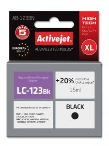 Cartus compatibil LC123 black pentru Brother LC-123BK, Premium Activejet, Garantie 5 ani