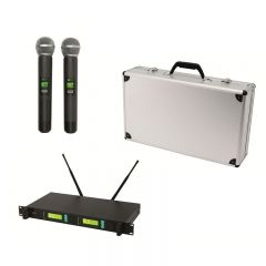 Set 2 microfoane wireless si receiver, 100 m, ecrane LCD, servieta aluminiu, Sal