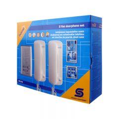 Set interfon poarta pentru 2 locuinte, cu fir, codificare digitala, Home