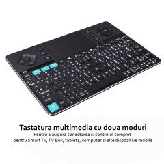 Tastatura Rii K16 multimedia dual mode, wireless, cu carcasa din aluminiu