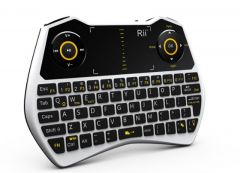 Mini tastatura Rii i28C, wireless, iluminata, touchpad, pentru Computer, Smart TV, alb