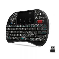 Mini tastatura wireless unique scroll, iluminata, touchpad 2.5 inch, 92 taste, Rii i8X