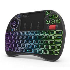 Mini tastatura wireless iluminata RGB, touchpad, scroll mouse, taste multimedia, Rii X8