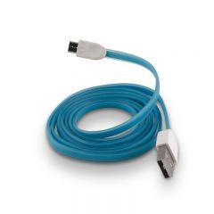 Cablu microUSB silicon, 100 cm, Albastru
