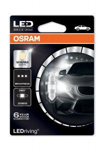 Bec OSRAM lumina calda, iluminare habitaclu centru, fata, spate 31mm (6438 Form) 4000K (M1)