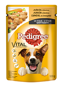 Hrana umeda completa pentru caini adulti cu pui si legume Pedigree 100g