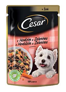 Hrana umeda completa pentru caini adulti cu vita si legume Cesar 100g
