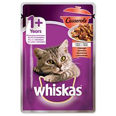 Hrana completa pentru pisici adulte cu vita Whiskas Casserole 85g