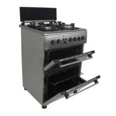 Aragaz mixt Studio Casa Duetto FM60/60 cm., 2 cuptoare: Cuptor electric plus Cuptor gaz, 4 arzatoare gaz, Aprindere electrica, Inox/ Sticla neagra