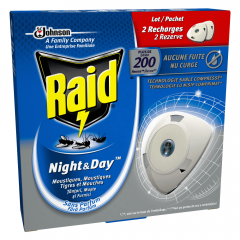 Rezerva dubla impotriva mustelor, tantarilor si furnicilor Raid Night&Day (20 zile/60 nopti), 2buc