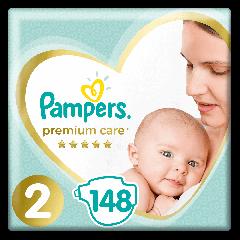 Scutece Pampers Premium Care Mega Box Marimea 2, Nou Nascut, 4-8 kg, 148 buc