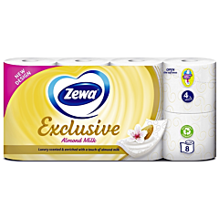 Hartie igienica Zewa Exclusive Almond Milk, 4 straturi, 8 role