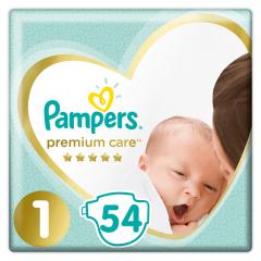 Scutece Pampers Premium Care Jumbo Pack Marimea 1, Nou Nascut, 2-5 kg, 54 buc