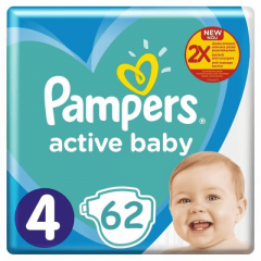 Scutece Pampers Active Baby Jumbo Pack, Marimea 4, 9 -14 kg, 62 buc
