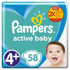 Scutece Pampers Active Baby Mega Box, Marimea 4+, 10 -15 kg, 58 buc