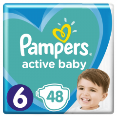 Scutece Pampers Active Baby Jumbo Pack, Marimea 6, 13 -18 kg, 48 buc