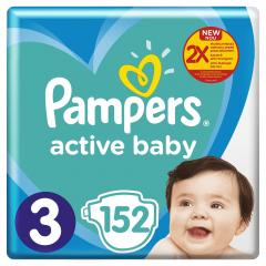Scutece Pampers Active Baby Mega Box, Marimea 3, 6 -10 kg, 152 buc
