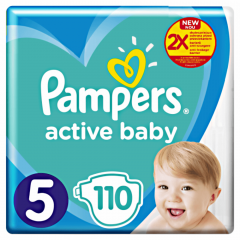 Scutece Pampers Active Baby Jumbo Pack, Marimea 5, 11 -16 kg, 110 buc