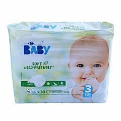 Scutece ecologice pentru bebelusi, nr.3 (4-9 kg) Carrefour Baby 30buc