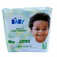 Scutece ecologice pentru bebelusi, nr.5 Junior (11-25 kg) Carrefour Baby 24buc