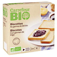 Biscuiti bio cu germeni de grau Carrefour 300g