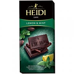 Ciocolata amaruie cu lamaie si menta Heidi 80g