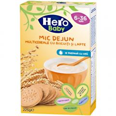 Multicereale pentru mic dejun  cu biscuiti si lapte Hero Baby 225g