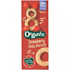 Biscuiti ecologici cu capsuni pentru bebelusi Organix Finger Foods 54g
