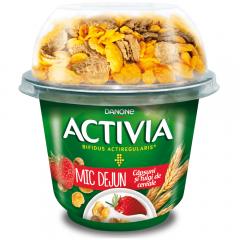 Iaurt cu capsuni si fulgi de cereale Danone Activia Mic Dejun 168g