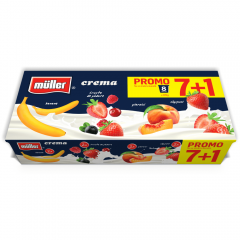 Pachet iaurt capsune, piersici, fructe de padure, banane Muller 1kg