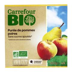 Piure mere/pere Carrefour Bio 4x100g
