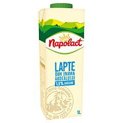 Lapte de vaca semidegresat 1.5%grasime Napolact 1l