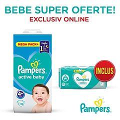 Pachet promo Pampers Scutece Active Baby Mega Box, Marimea 4+, 10-15 kg, 120 buc + Servetele umede Sensitive 2 x 52, 104 buc