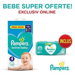 Pachet promo Pampers Scutece Active Baby Mega Box, Marimea 4, 9 -14 kg, 132 buc + Servetele umede Sensitive 2 x 52, 104 buc