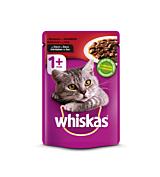 Hrana umeda completa pentru pisici adulte cu vita in sos Whiskas 100g