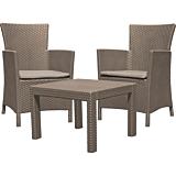 Set mobilier de gradina/balcon cu aspect ratan Keter Rosario, plastic, Capuccino