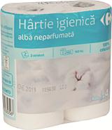 Hartie igienica alba neparfumata Carrefour 4role 2straturi