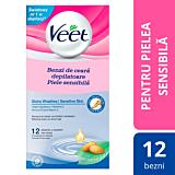 Benzi ceara rece vitamina E si ulei de migdale pentru piele sensibila Veet 12benzi