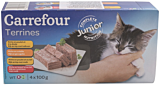 Pateu pentru pisici cu pasare, vita si pui Carrefour 4x100g