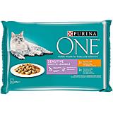 Pachet hrana umeda pentru pisici cu pui/ton Purina One Sensitive 4x85 g