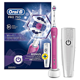 Periuta de dinti electrica Oral-B PRO 750 3D White, 40000 pulsatii/min, 8800 oscilatii/min, Curatare 3D, 1 program, 1 capat, Trusa de calatorie, Alb/Roz