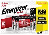 Set 12 baterii alcaline Energizer Power Max, 6 baterii AA si 6 baterii AAA