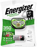 Lanterna frontala cu bareta Vision HD Energizer, 5 LED-uri, 3 baterii AAA, Verde/Gri