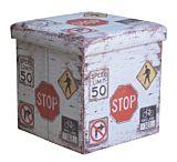 Taburet pliabil Stop, cu spatiu depozitare, 38x38x37.5cm, PVC/MDF, Multicolor