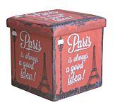Taburet pliabil Paris, cu spatiu depozitare, 38x38x37.5cm, PVC/MDF, Multicolor