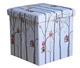 Taburet pliabil Bufnite Mici, cu spatiu depozitare, 38x38x37.5cm, PVC/MDF, Multicolor
