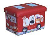 Taburet pliabil pentru copii, cu spatiu de depozitare, 38x25x24.5 cm, PVC/MDF, Rosu