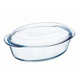 Vas oval cu capac din sticla termorezistenta 33x20x13 cm, 4 L, Essentials Pyrex
